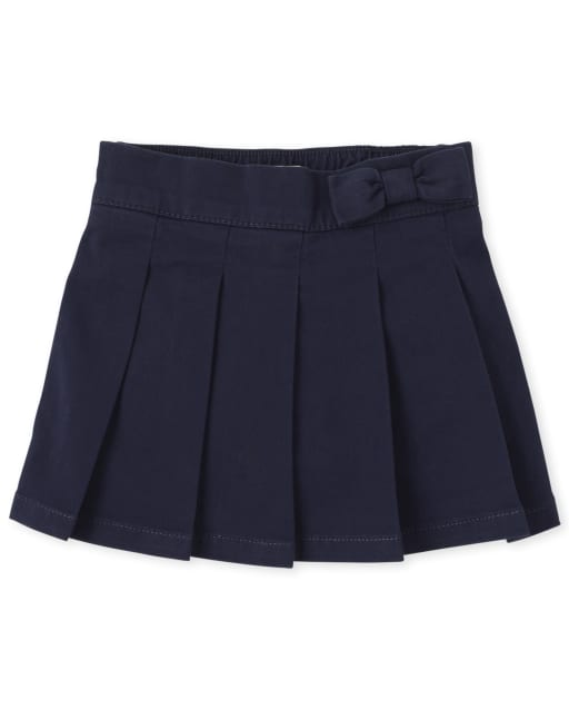 Falda pantalón plisada plisada con lazo de uniforme para niñas pequeñas