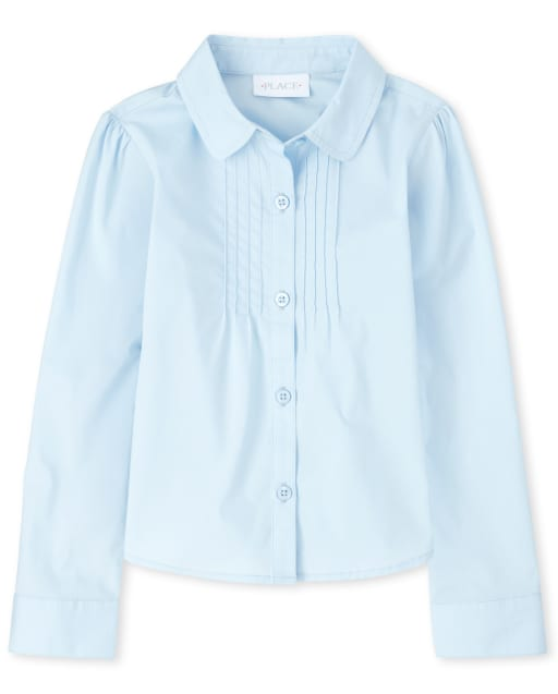 Girls Uniform Long Sleeve Pintuck Poplin Button Down Shirt