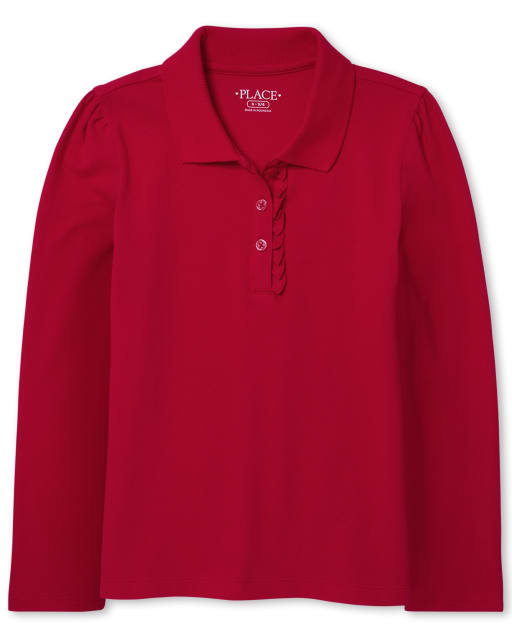 Girls Uniform Long Sleeve Ruffle Pique Polo