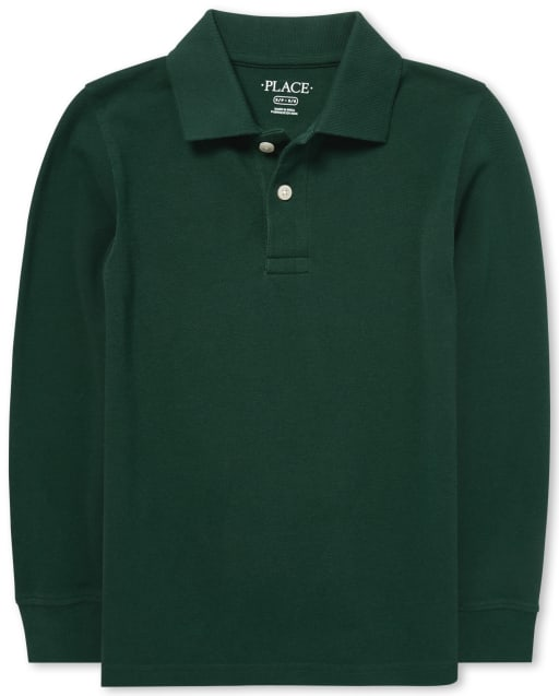 Boys Uniform Long Sleeve Pique Polo
