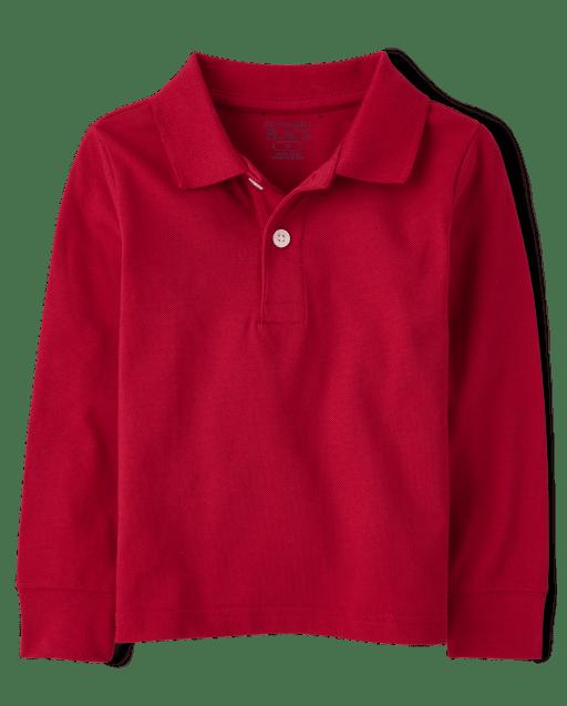 Polo de piqué de manga larga uniforme para bebés y niños pequeños