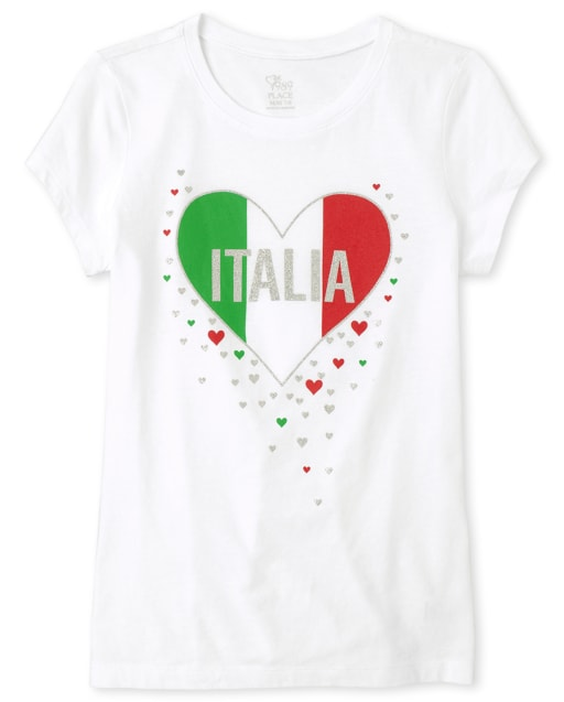 Girls Short Sleeve Glitter 'Italia' Heart Graphic Tee