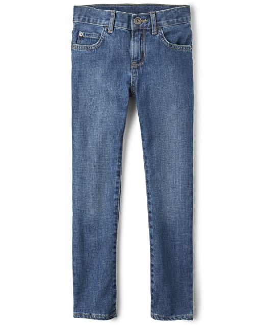 Boys Basic Skinny Jeans - Medium Blue Indigo Wash