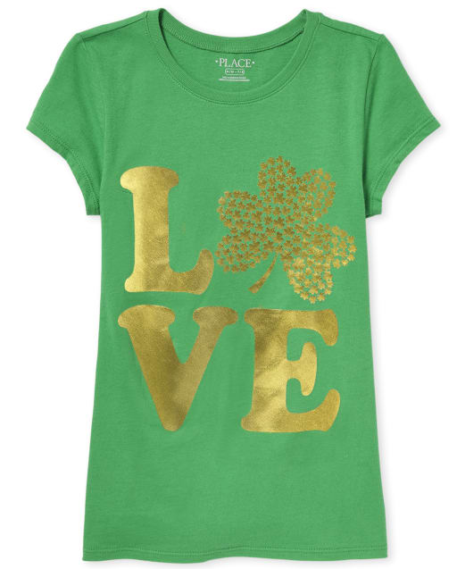 Girls St. Patrick's Day Short Sleeve Foil 'LOVE' Shamrock Graphic Tee