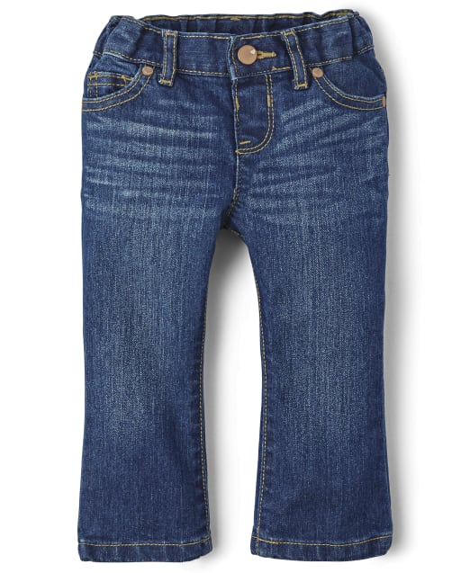 Baby And Toddler Girls Basic Bootcut Jeans - Indigo Stone Wash