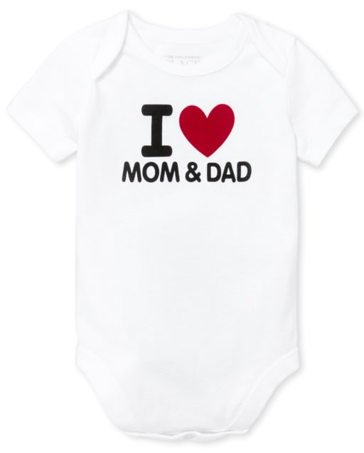 Unisex Baby Short Sleeve 'I Heart Mom And Dad' Graphic Bodysuit