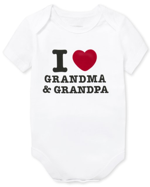 Unisex Baby Short Sleeve 'I Heart Grandma And Grandpa' Graphic Bodysuit