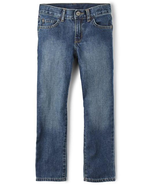 Boys Basic Bootcut Jeans - Medium Blue Indigo Wash