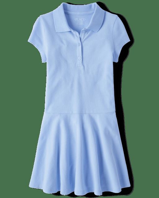Girls Uniform Short Sleeve Pique Polo Dress