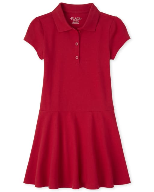Girls Uniform Short Sleeve Pique Polo Dress