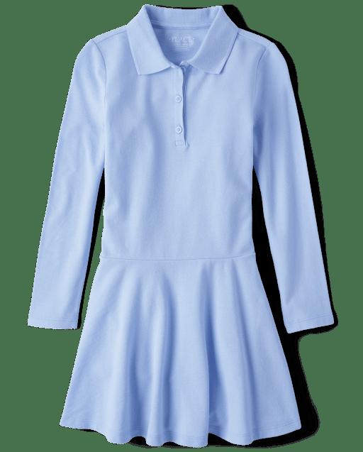 Vestido polo de piqué de manga larga uniforme para niñas