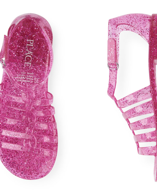 Girls Glitter Jelly Sandals