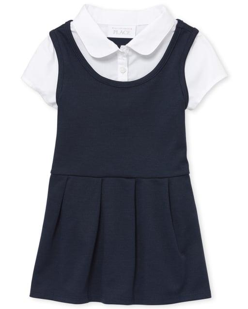 Vestido 2 en 1 de punto Ponte de manga corta con uniforme para niñas pequeñas