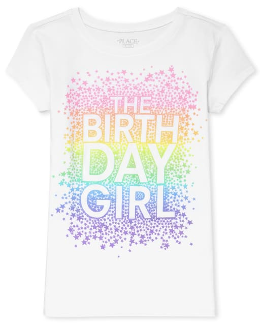 Girls Birthday Short Sleeve Rainbow 'The Birthday Girl' Graphic Tee