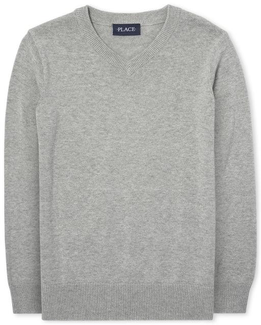 Suéter uniforme de manga larga con cuello en V para niños