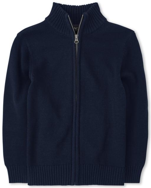 Suéter de manga larga con cuello alto y cremallera uniforme para niños