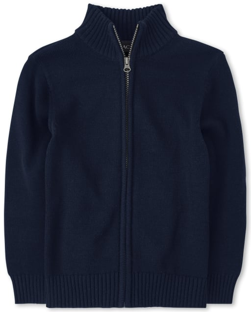 Boys Uniform Long Sleeve Zip Up Mock Neck Sweater