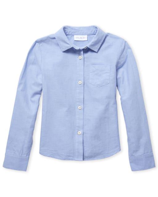 Girls Uniform Long Sleeve Oxford Button Down Shirt