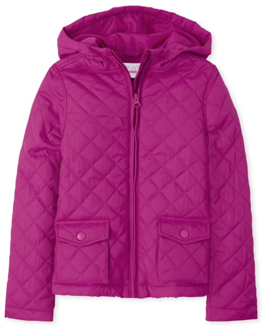 Girls Uniform Long Sleeve Quilted Hooded Jacket