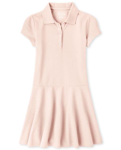 Vestido polo piqué de manga corta uniforme para niñas