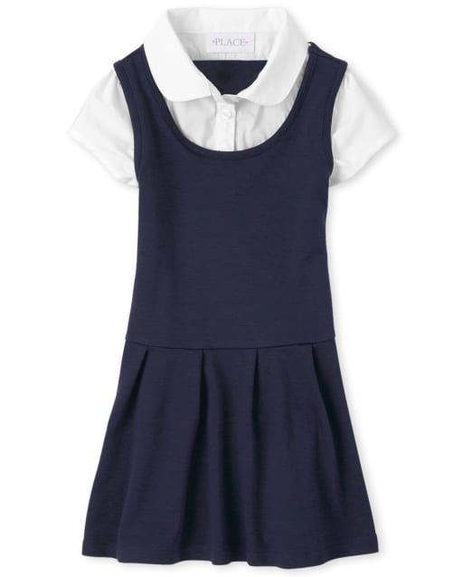 Vestido 2 en 1 de punto de punto de manga corta uniforme para niñas