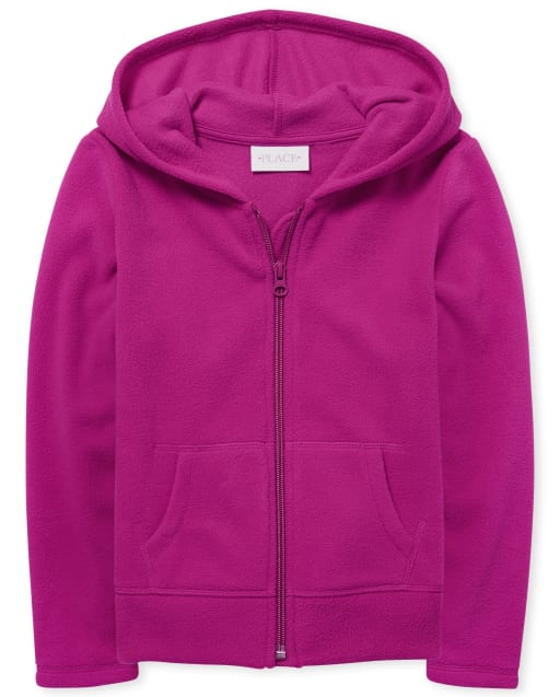 Girls Uniform Long Sleeve Fleece Zip Up Hoodie