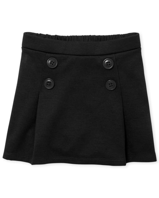 Toddler Girls Uniform Ponte Knit Button Skort