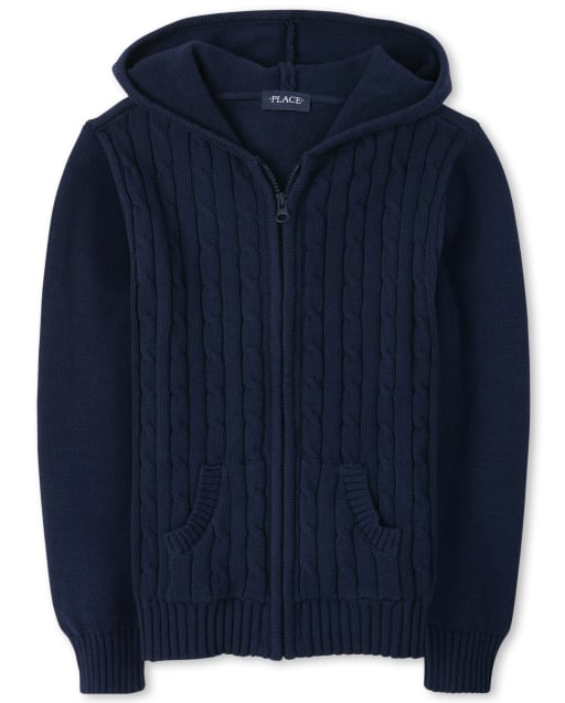 Girls Uniform Long Sleeve Cable Knit Zip Up Hooded Cardigan