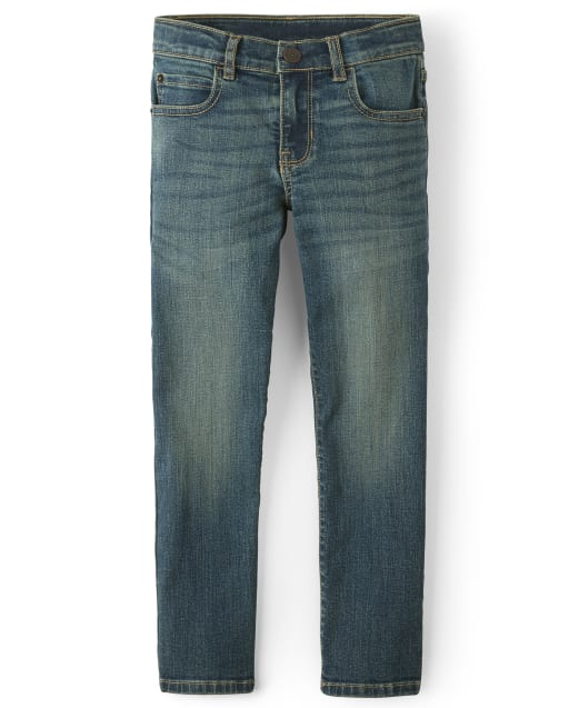 Boys Basic Straight Stretch Jeans - Aged Indigo Wash