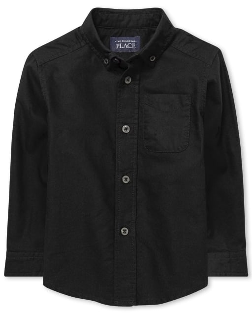 Toddler Boys Uniform Long Sleeve Oxford Button Down Shirt