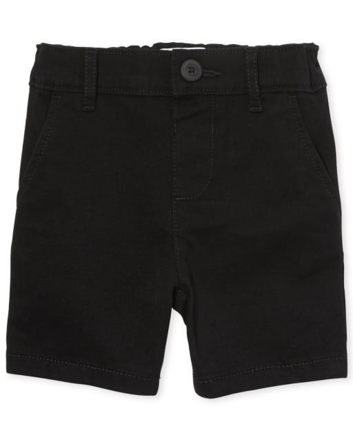 Shorts de uniforme de tejido plano en algodón de gabardina para niñas pequeñas