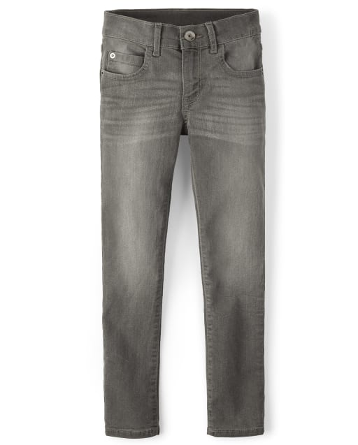 Boys Basic Super Skinny Stretch Jeans - Dark Gray Wash