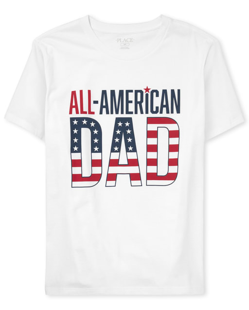 Mens Short Sleeve 'All-American Dad Matching Family Graphic Tee
