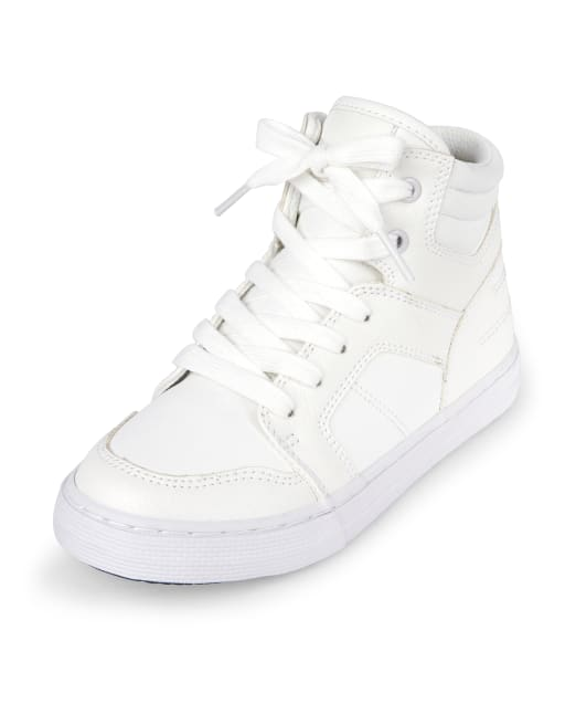 Boys Faux Leather Hi Top Sneakers