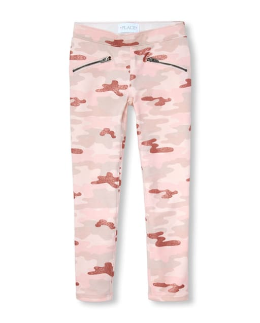 The Childrens Place Big Girls Glitter Camo Jegging