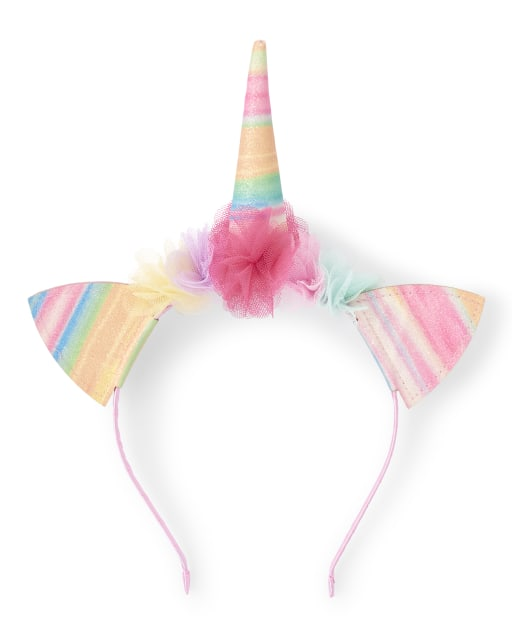 Girls Glitter Rainbow Striped Unicorn Headband