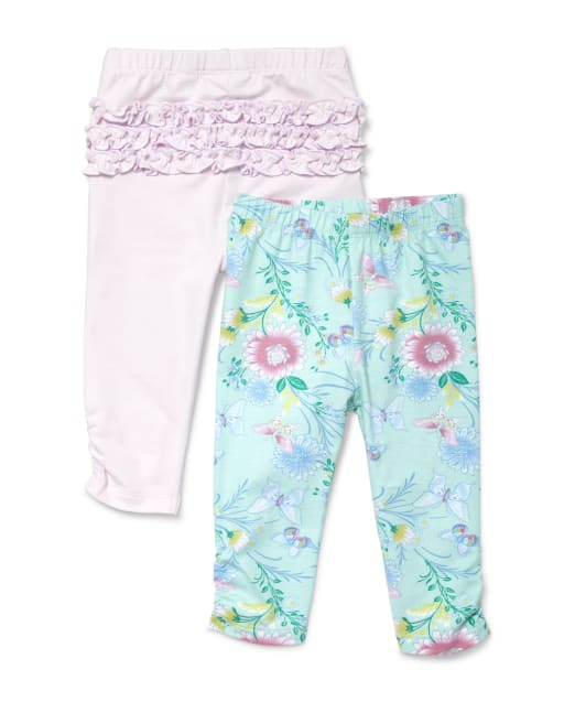 and 2 Cotton Printed Legging Pants Pack Of 4 Indistar Girls 2 Cotton Solid Legging Pants /_Multicolor/_Size-1-3 Years/_71407081920-IW-P4-22