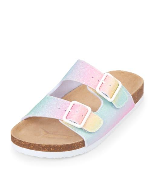 glitter double strap buckle sandals