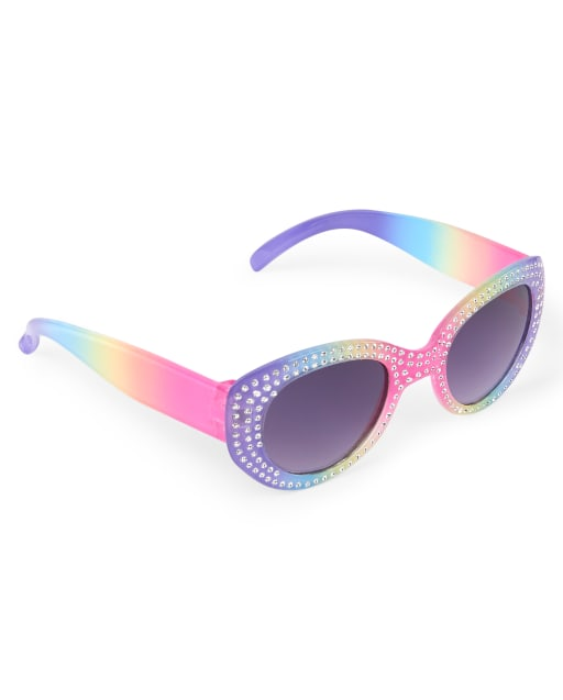 Toddler Girls Faceted Rainbow Oval Sunglasses