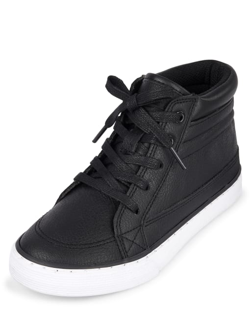 Boys Uniform Faux Leather Hi Top Sneakers