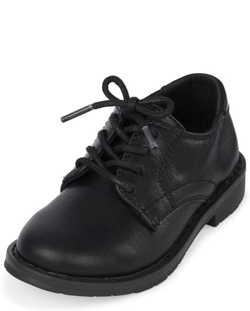 Toddler Boys Lace Up Faux Leather Dress Shoes