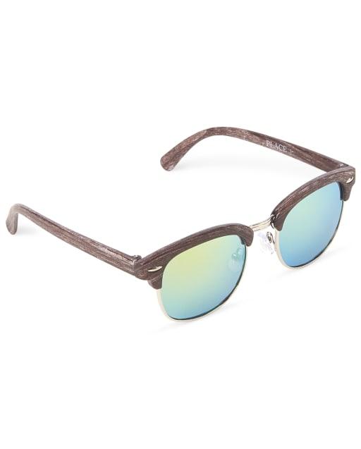 Boys Faux Wood Retro Sunglasses