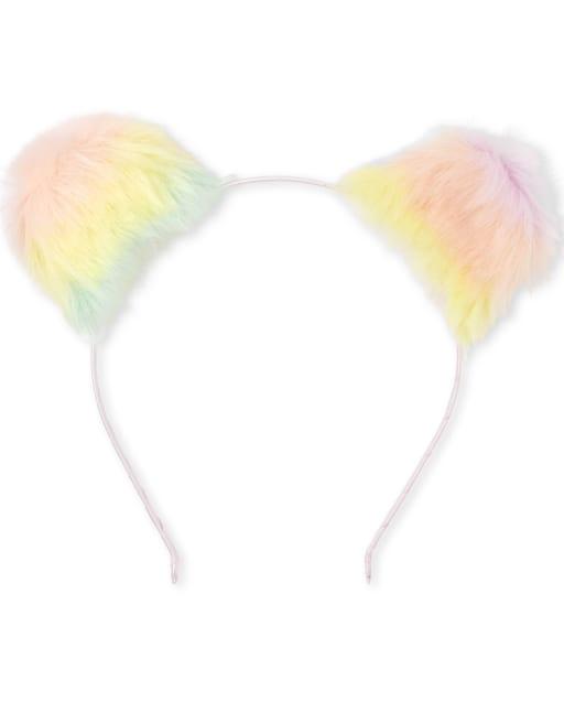 Toddler Girls Faux Fur Rainbow Ears Headband
