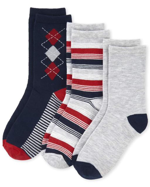 Boys Uniform Argyle Crew Socks 3-Pack
