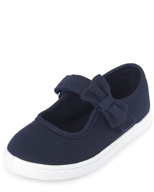 Toddler Girls Uniform Bow Strap Canvas Sneakers
