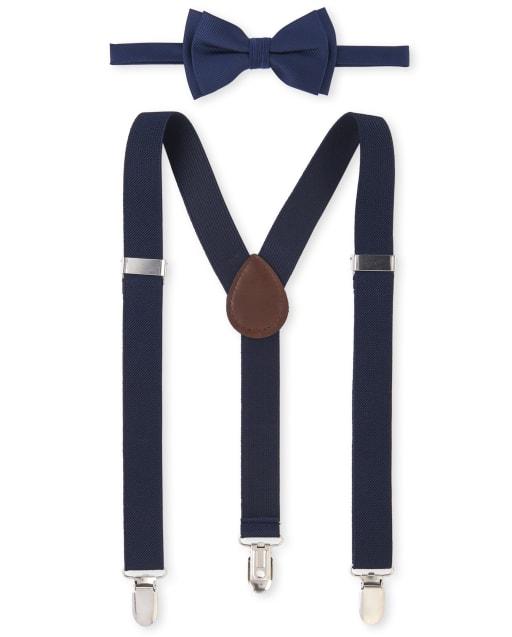 Conjunto de corbata de moño y tirantes uniformes para niños