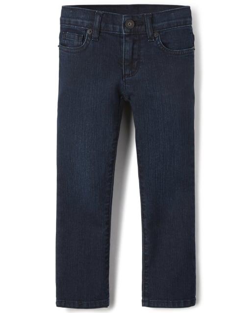 Jeans de corte básico para niñas: lavado súper oscuro