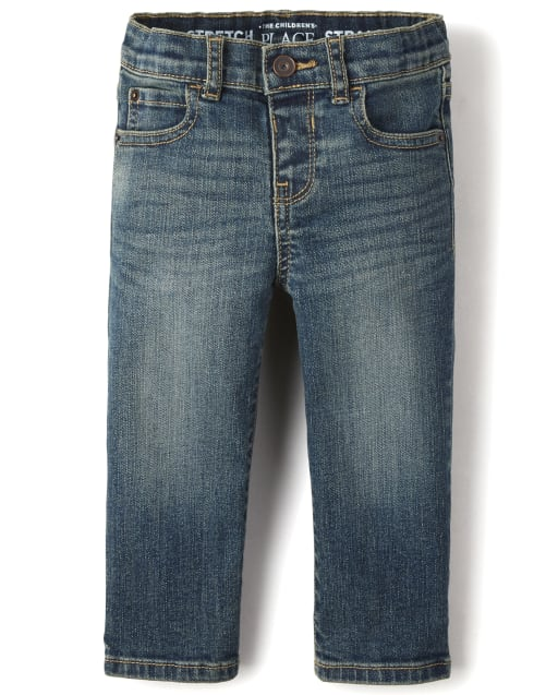 Baby And Toddler Boys Basic Straight Stretch Jeans - Aged Indigo Wash