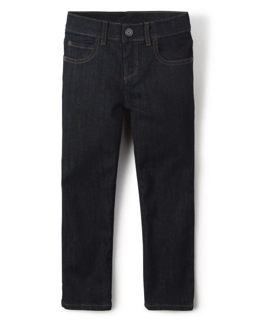 Boys Basic Straight Stretch Jeans - Dark Rinse Wash
