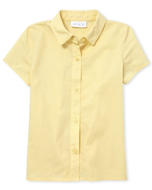Girls Uniform Short Sleeve Poplin Button Down Shirt